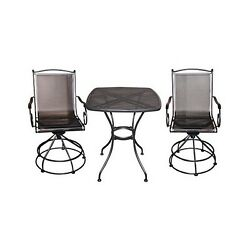 Woodard RXTV-08BCT Uptown 3 Piece Steel Black Wrot Iron Bistro Balcony Set