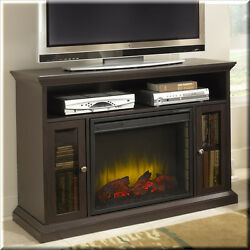 Electric Fireplace TV Stand Entertainment Center Media Console Cabinet Brown