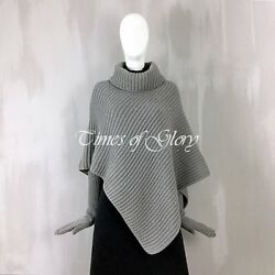 Auth Loro Piana Grey Sequins Cashmere Chunky Knitted Cape and Long Gloves Set