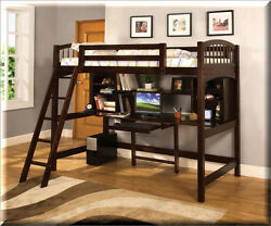 Loft Bed With Desk Twin Espresso Wood Stairs Safeguard Rail Bedroom Furniture