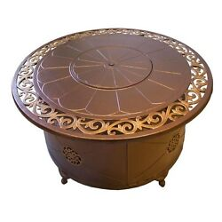 Propane Fire Pit Table 48 in. Round Cast Aluminum with Decorative Scroll Design