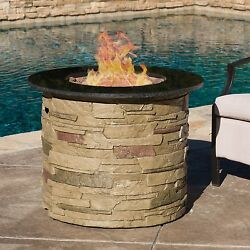 Fire Pit 32 IN Outdoor Round Propane Fireplace Lava Rocks Patio Outdoor Heating