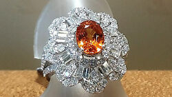 18K White Gold Ladies ring With 5.61 TCW.Orange Fire Spessertile and Diamonds.