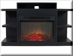 Electric Fireplace TV Stand Entertainment Center Black Wood Furniture Modern
