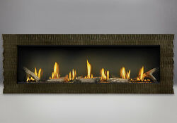 NAPOLEON LV50 Linear Gas Fireplace WITH HAMMERED STEEL SURROUND