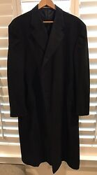 Men's Burberry London Cashmere Single Breasted Full Length Black Coat 46 Regular
