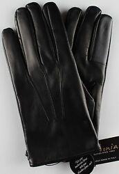 NWT LABONIA GLOVES TOUCH lamb leather cashmere black luxury handmade Italy 9.5