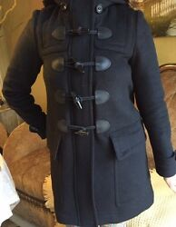 Burberry Black Wool Hooded Coat- Used in Perfect Condition