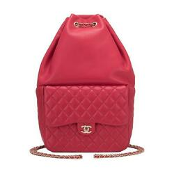 Chanel Red Lambskin Large Backpack