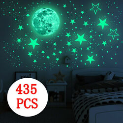 435Pc Glow In The Dark Luminous Stars Moon Wall Stickers Space Kid Ceiling Decal $8.88