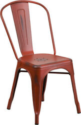 (20 PACK) Industrial Style Antique Kelly Red Metal Restaurant Chair For Outdoor