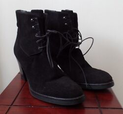 Prada pre-owned 39.5 or 912 black suede ankle boots