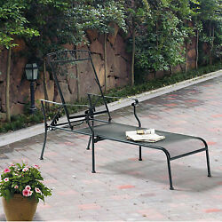 Patio Furniture Chaise Lounge Chair Outdoor Steel Seat Black Metal Adjustable