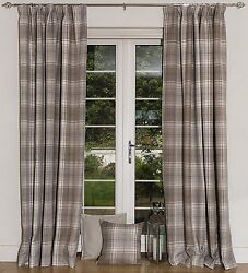 McAlister Textiles Beige Made to Measure Angus Tartan Check Wool Look Curtains