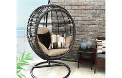 Egg Patio Hanging Swing Wicker Furniture Chair Outdoor Cushion Resin Stand Seat