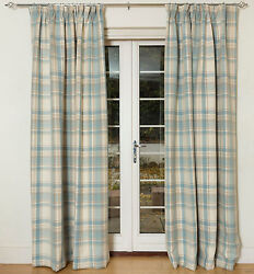 McAlister Textiles Duck Egg Blue Heritage Tartan Check Wool Look Curtains