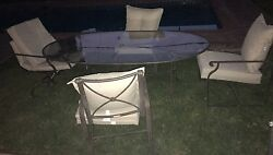 BROWN JORDAN PATIO SET 4  LOOSE CUSHIONS CHAIRS AND TABLE