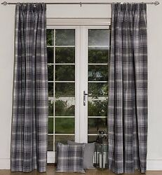 McAlister Textiles Grey Made to Measure Angus Tartan Check Wool Look Curtains