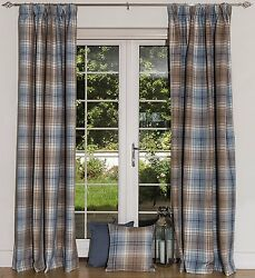 McAlister Textiles Duck Egg Blue Tailored Angus Tartan Check Wool Look Curtains