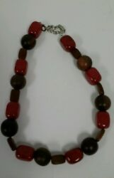Vintage Wooden and Petrified Wooden Beaded Necklace 19