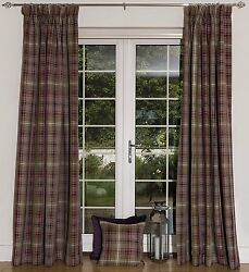 McAlister Textiles Mulberry Made to Measure Angus Tartan Check Wool Look Curtain
