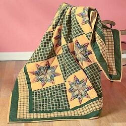 50 x 60 QUILTED PATCHWORK-LOOK THROW COUNTRY LOG CABIN FARMHOUSE BLANKET HOME