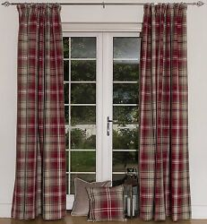 McAlister Textiles Red Made to Measure Angus Tartan Check Wool Look Curtains