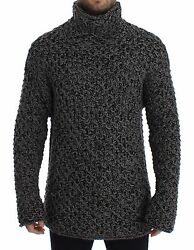 NWT $1400 DOLCE & GABBANA Gray Wool Cashmere Knitted Turtleneck Sweater IT46  M