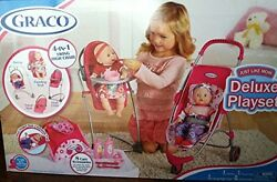 Graco 11 Pcs Just Like Mom Deluxe Playset Stroller; Swing High Chair Travel Bag