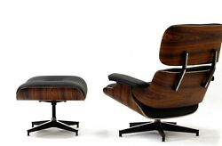 eBB Eames Style Lounge Chair and Ottoman BLACK Leather Palisander Wood