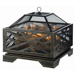 Square Firepit Rubbed Bronze Martin 26