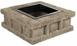38.5 in. x 14 in. Rumblestone Square Fire Pit Greystone Stone Wood Easy Assemble