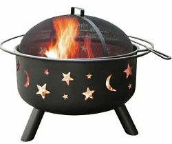 24-in. Outdoor Fire Pit Wood Burning Steel Spark Screen Warm Night Gatherings