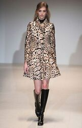 NWOT GUCCI LEOPARD PRINT CALF HAIR + LEATHER  FLARE COAT SIZE 40 (US XS-S)