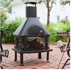 Hayneedle Fire Pit Grill Wood Burning Fireplace Chiminea On Sale Modern Outdoor