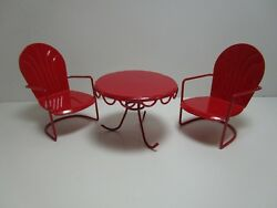 Fiddlehead Fairy Miniature Red Retro Chairs & Table Georgetown Home Garden 17405