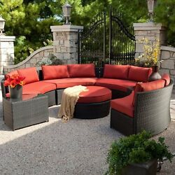 Wicker Patio Furniture Set Outdoor Pool Deck Benches End Tables Ottoman Cushions