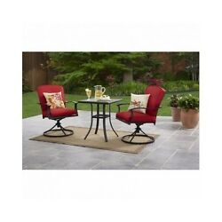 Bistro Table And Chairs Red 3 Piece Set Outdoor Patio Deck Garden Furniture New