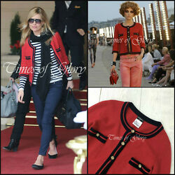 NEW Iconic Chanel CC Logo Red CASHMERE Cardigan Sweater Jacket Size XS FR34 US2