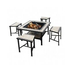 5 Piece Fire Pit Seating Set Outdoor Fireplace Deck Patio Heater Yard Wood Chair