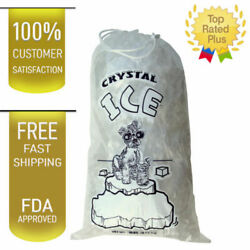 100 COMMERCIAL CRYSTAL 10 LB LBS 1.5 MIL Plastic Ice Bag Bags With Drawstring $17.94