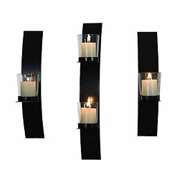 Set of 3 Wall Sconces w Glass Candle Holder She Shed Woman Cave Decoration