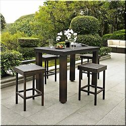 Patio Dining Set 5 Piece Outdoor Garden Furniture High Table Stools Wicker Brown