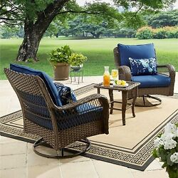 3 Pc Bistro Set Glass Chat Table Cushioned Swivel Chair Garden Patio Porch Blue