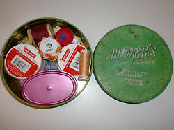 Sewing Notions Lot Buttons Thread Snaps Needles Crafting Supplies in Moyers Tin