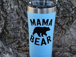 Custom Mama Bear Vinyl Decal for Stainless Tumblers Coffee Travel Cups Mugs