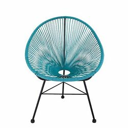 Design Tree Home Acapulco IndoorOutdoor Lounge Chair Blue Weave on Black Frame