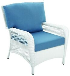 Wicker Patio Lounge Chair Blue Cushion Padded Outdoor Yard Furniture Porch Seat