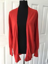 GUCCI $875 Tomato Red SilkWoolCashmere Long Open Cardigan Sz S
