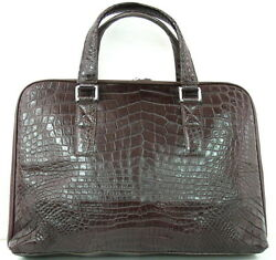 100% BELLY GENUINE CROCODILE LEATHER BRIEFCASE BAG LAPTOP BROWN LARGE SOFT NEW
